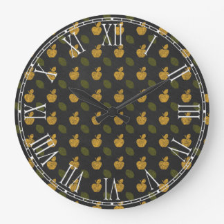 Abstract Autumn Patterns Large Clock