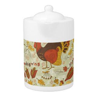 Abstract Autumn Patterns Teapot