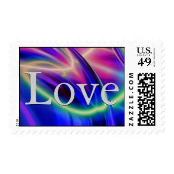 Abstract Background Blue Grey Love Wedding Postage