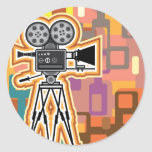 Abstract Background Movie Projector Film camera Classic Round Sticker
