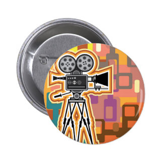 Abstract Background Movie Projector Film camera Pinback Button