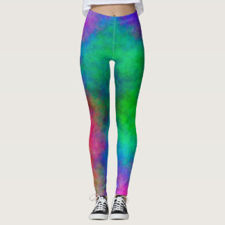 Abstract Background Multi Color Watercolor Leggings