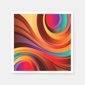 Abstract Background Multi Color Whirl Napkin