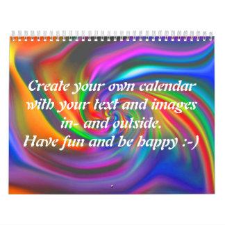 Abstract Background Spirals soft II + your text Calendar