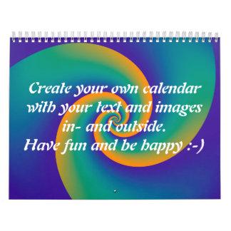 Abstract Background Spirals soft V + your text Wall Calendar