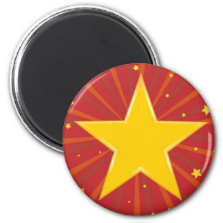 Abstract background with red star 2 inch round magnet