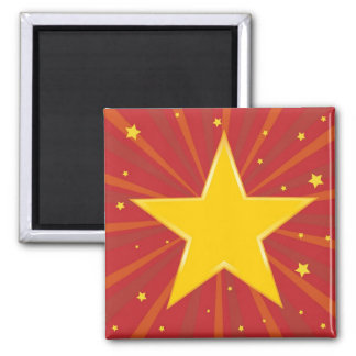 Abstract background with red star 2 inch square magnet