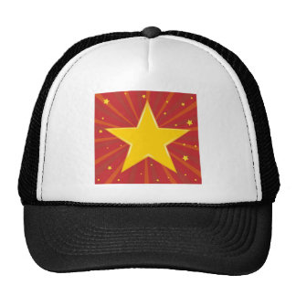 Abstract background with red star trucker hat