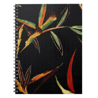 Abstract Bamboo Leaves Green Orange Red Black Notebook