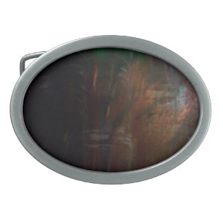Abstract Bark Oval Belt Buckle