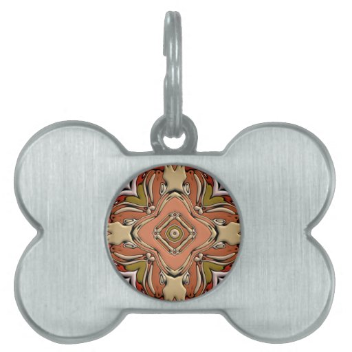 Abstract Bas-relief Kaleidoscope.Nouveau Art Style Pet Tag