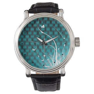 Abstract Basketweave Jungle (teal) Wristwatch