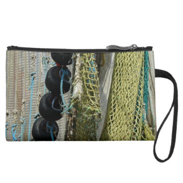 Beach Themed abstract beach fishing nets wristlet or makeup bag