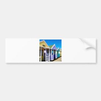 Abstract Beach Huts Bumper Sticker