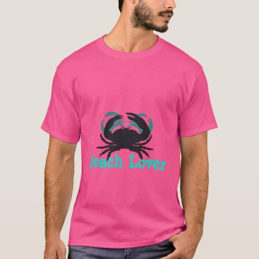 """Beach Themed """"Abstract Beach Lover(c)Crabs""""ii_Pink-Teal/Black"""" T-Shirt"""