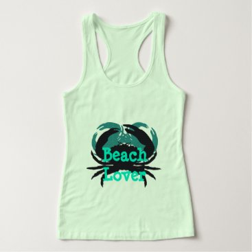 "Beach Themed ""Abstract Beach Lover & Crabs""_Multi-Green/Black Tank Top"