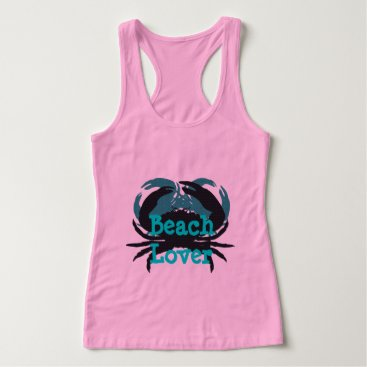 """Beach Themed """"Abstract Beach Lover & Crabs""""_Pink-Blue(s)/Black"""" Tank Top"""