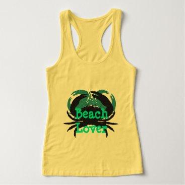 "Beach Themed ""Abstract Beach Lover & Crabs""_Yel/Green/Black Tank Top"