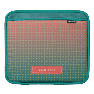 Abstract Beach Sunset Coral & Teal Personalized iPad Sleeve