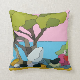 Abstract Beach & Trees, blue green Throw Pillow