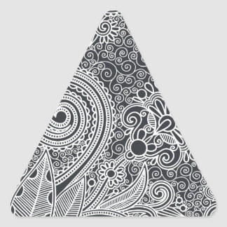 Abstract beautiful Indian floral pattern Triangle Sticker