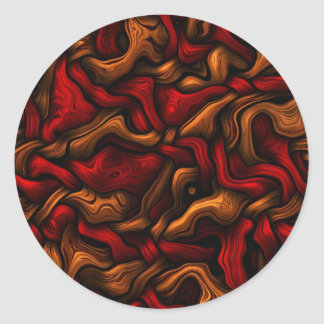 abstract bending intertwined 3d curves classic round sticker