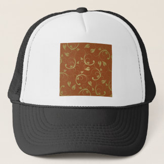 abstract bg brown leaf trucker hat