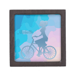Abstract Bicycle Girl Blue Gift Box