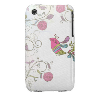 Abstract Bird and Flowers iPhone 3 Case-Mate Case