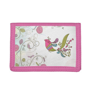 Abstract Bird and Flowers Trifold Wallets