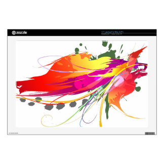 "Abstract Bird of Paradise Paint Splatters 17"" Laptop Decal"
