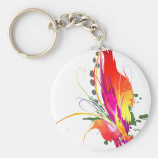 Abstract Bird of Paradise Paint Splatters Basic Round Button Keychain