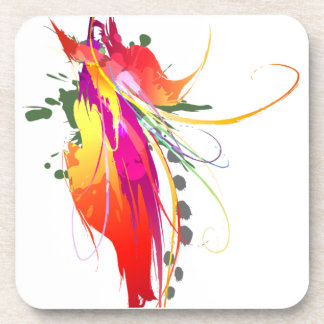 Abstract Bird of Paradise Paint Splatters Beverage Coaster