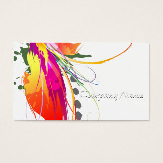 Abstract Bird of Paradise Paint Splatters Business Card