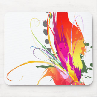 Abstract Bird of Paradise Paint Splatters Mouse Pad