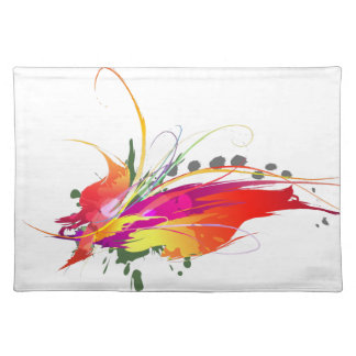 Abstract Bird of Paradise Paint Splatters Cloth Place Mat