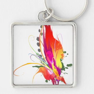 Abstract Bird of Paradise Paint Splatters Silver-Colored Square Keychain
