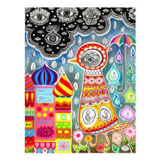 Abstract Bird Postcard - Colorful Whimsical Art