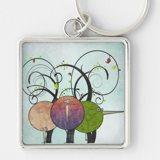 Abstract Birds and Trees Keychain