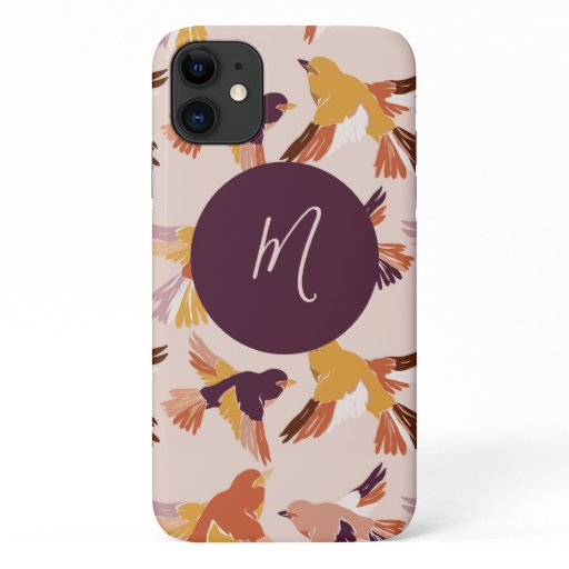 Abstract Birds in Flight Pattern Script Monogram iPhone 11 Case