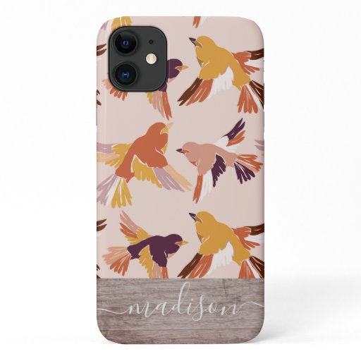Abstract Birds in Flight Pattern Wood Script Name iPhone 11 Case