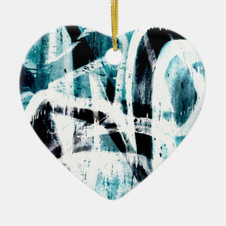 Abstract black and blue graffiti Double-Sided heart ceramic christmas ornament