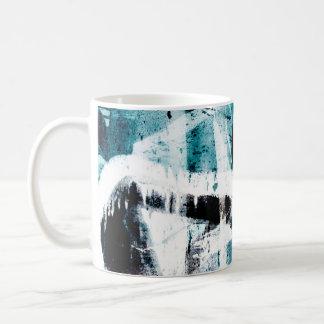 Abstract black and blue graffiti mug