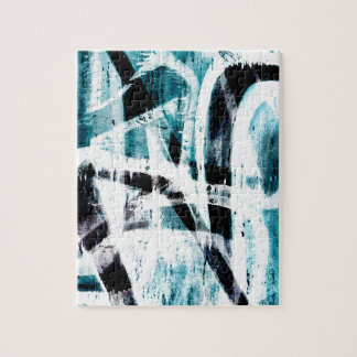 Abstract black and blue graffiti jigsaw puzzle
