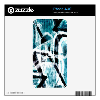 Abstract black and blue graffiti skin for iPhone 4