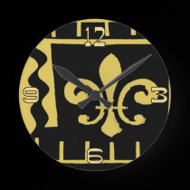 Abstract Black and Gold Fleur De Lis wall clocks