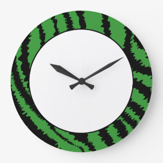 Abstract Black and Green Jungle Print Pattern. Round Wall Clocks