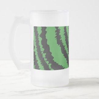 Abstract Black and Green Jungle Print Pattern. Frosted Glass Beer Mug