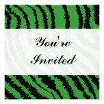 Abstract Black and Green Jungle Print Pattern. Personalized Invitation