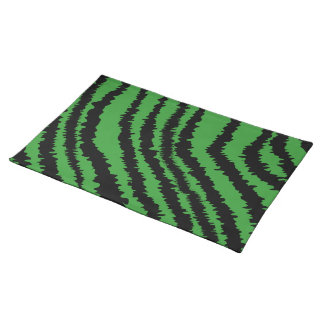 Abstract Black and Green Jungle Print Pattern. Cloth Place Mat